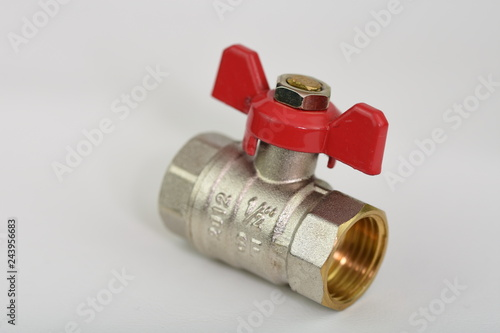 Photo  Ball valve with red handle