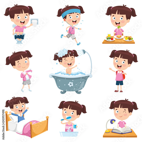 Fotomural  Vector Illustration Of Cartoon Girl Doing Various Activities