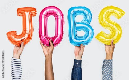 Hands showing jobs balloons word Wallpaper Mural