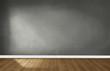 Leinwanddruck Bild - Gray wall in an empty room with a wooden floor