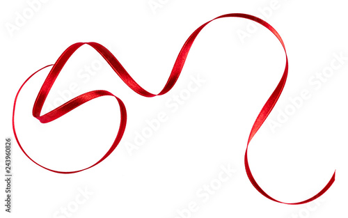 Fotografía  Shiny satin ribbon in red color isolated on white background close up