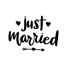 Just Married Lettering Greeting Card.