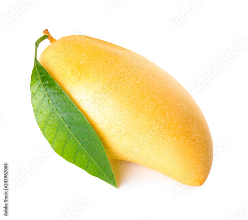 Fresh ripe mango with green leaf isolated on white