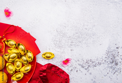 Fototapeta Chinese New Year, China gold ingots,  Traditional Asian style (Foreign text means blessing and lucky) obraz na płótnie