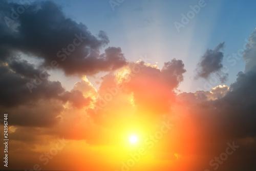 Türaufkleber UFO sunlight cloud sunset sky background