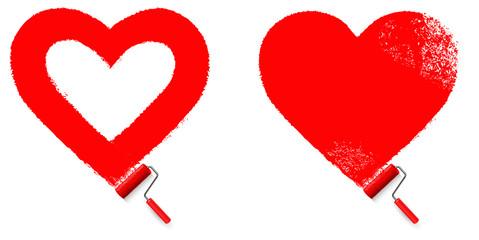 Herz - Anstrich in Herzform mit Farbroller
