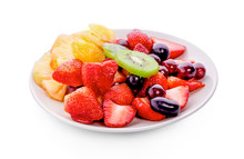 Fresh Fruits On Plate Isolate...
