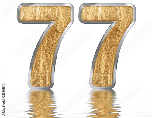Fotografie, Obraz  Numeral 77, seventy seven, reflected on the water surface, isolated on white, 3d