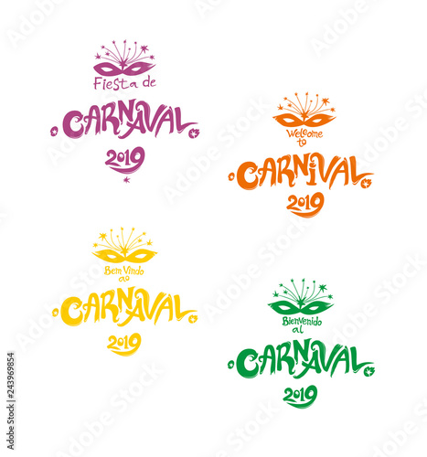 Welcome to Carnival 2019  A set of four bright multicolored
