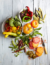 Overhead View Of Fresh Vegetables On Wooden Table