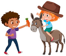Children And Donkey Character