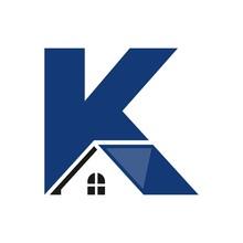 Letter K And Home Symbol. Vector Logo.