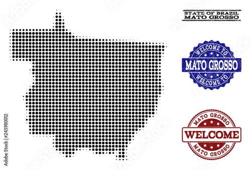 Fotografija  Welcome collage of halftone map of Mato Grosso State and grunge watermarks