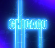 Chicago City Name In Geometry Style Design. Creative Vintage Typography Poster Concept. 3D Rendering