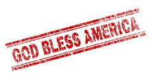 GOD BLESS AMERICA Seal Imprint With Corroded Texture. Red Vector Rubber Print Of GOD BLESS AMERICA Tag With Scratched Texture. Text Tag Is Placed Between Double Parallel Lines.