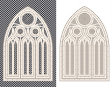 Gothic Medieval Window On White And Transparent Background.