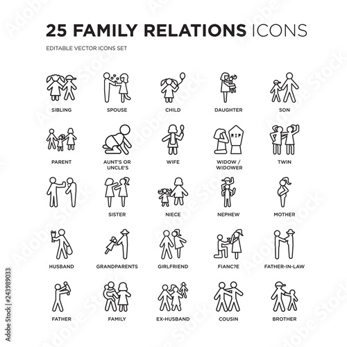 Fotografie, Obraz  Set of 25 family relations linear icons such as sibling, spouse, child, daughter, son, twin, mother, father-in-law, , vector illustration of trendy icon pack