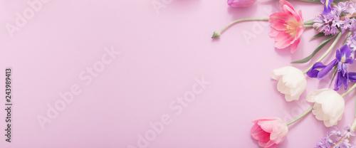 Fotografie, Obraz  beautiful flowers on paper background