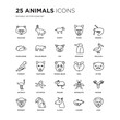 Set of 25 animals linear icons such as Racoon, Rabbit, puppy, puma, Prawn, Pelican, Otter, Moose, Macaw, Lion, vector illustration of trendy icon pack. Line icons with thin line stroke.