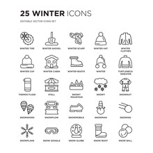 Set Of 25 Winter Linear Icons Such As Tire, Winter Shovel, Scarf, Hat, Clothes, Turtleneck Sweater, Vector Illustration Of Trendy Icon Pack. Line Icons With Thin Line Stroke.