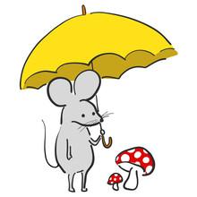 カワイイ ねずみ 傘...