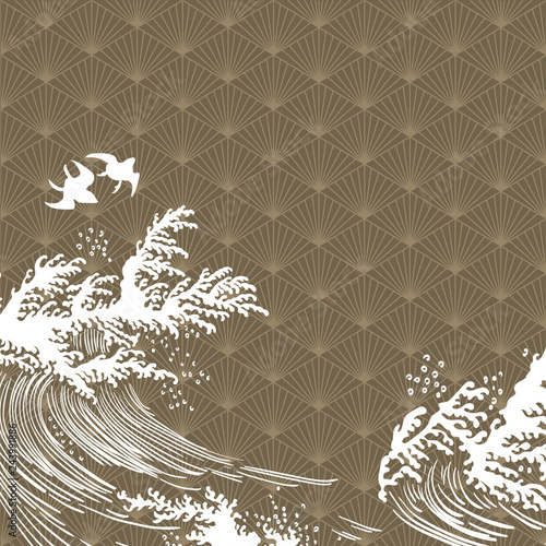 Photographie  Hand drawn wave elements with geometric pattern vector