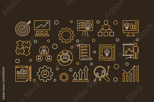 Fotografía  Strategic Planning Process vector concept horizontal outline illustration or ban