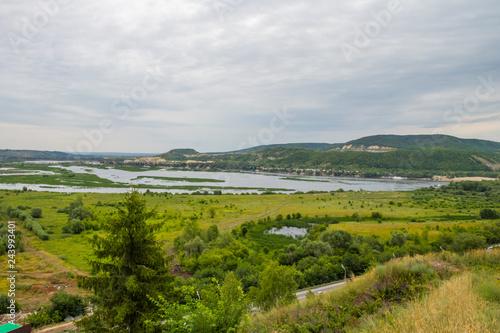 Fototapety, obrazy: summer landscape, river, forest, village