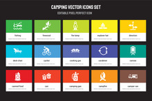 Set Of 15 Flat Camping Icons - Fishing, Firewood, Camping Gas, Direction, Canned Food, Carabiner, Canvas, Campfire. Vector Illustration Isolated On Colorful Background