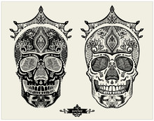 Hand Drawn Ornamental Skulls Set, Sugar Skulls With Crowns