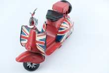 Motorcycle With English Flag