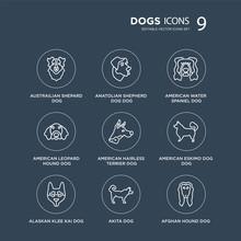 9 Austrailian Shepard Dog, Anatolian Shepherd Dog Alaskan Klee Kai American Eskimo Dog Modern Icons On Black Background, Vector Illustration, Eps10, Trendy Icon Set.