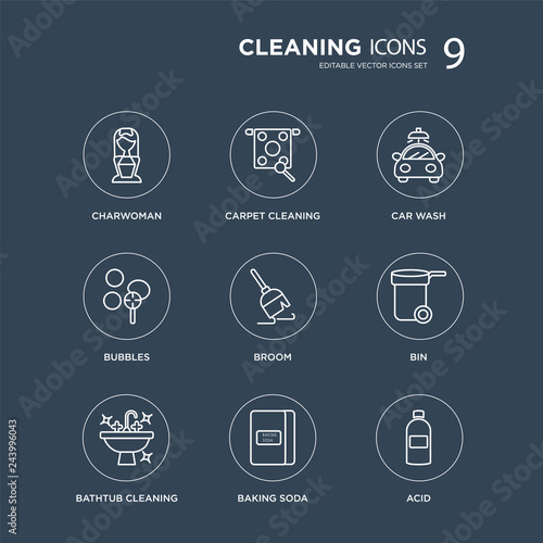 9 Charwoman, Carpet cleaning, Bathtub Bin, Broom, Car wash, Bubbles, baking soda modern icons on black background, vector illustration, eps10, ...