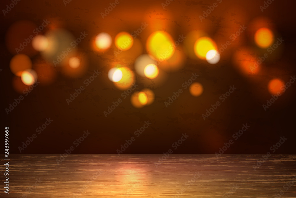 Fototapety, obrazy: Vector empty wooden table bokeh lights backdrop