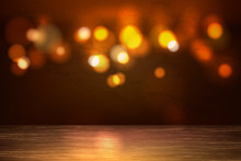 Vector Empty Wooden Table Bokeh Lights Backdrop