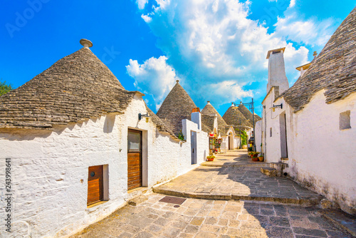 Trulli of Alberobello typical houses. Apulia, Italy. Wallpaper Mural