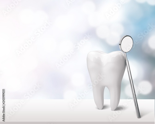 Fotomural  Big tooth and dentist mirror on table