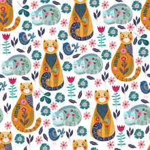 Seamless Pattern With Cute Cats And Birds, Flowers And Leaves On White Background, Vector Illustration