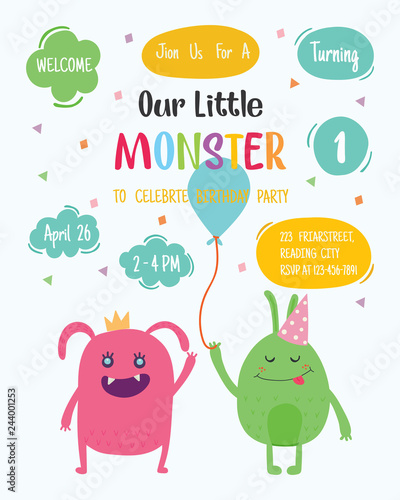 Fototapeta Cute Monster Happy Birthday Party Invitation Card Design Vector