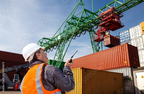 Fotografie, Obraz  freight forwarding manager,worker, at container terminal