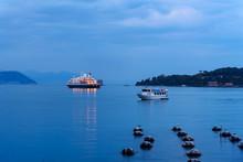 Cruise Ship In Gulf Of Poets At Night. Portovenere Or Porto Venere Town On Ligurian Coast. Italy