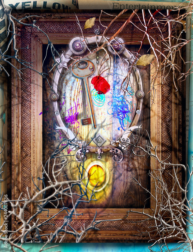 Deurstickers Imagination Surreal background with mysterious and enchanted window