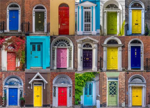 Photo Set of colorful Georgian style doors in Dublin, Ireland