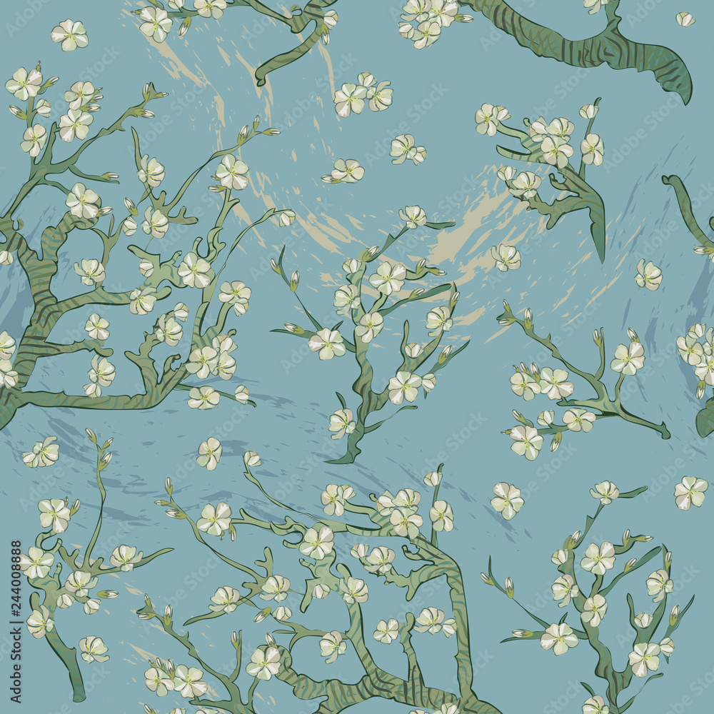 Spring almond branch, flowers pattern. Blooming tree vintage. Boho style. By pictures Vincent Van Gogh almond branch retro.
