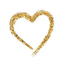 Creative Glitter Heart Shape On White Background For Valentine's Day.