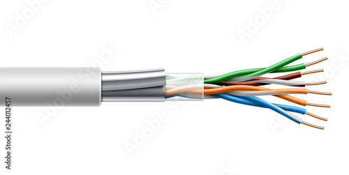 Cuadros en Lienzo  Twisted pair cable with fiol shield structure