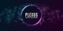 Geometric Plexus Banner Of Flying Triangles And Dots On A Dark Background. Purple And Blue Glowing Connected Triangular Elements. Scientific Background For Your Design. Vector Illustration