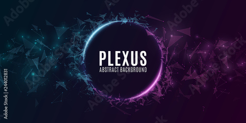Geometric plexus banner of flying triangles and dots on a dark background Fototapet