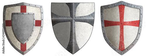 Obraz na plátně crusader's metal shields set 3d illustration