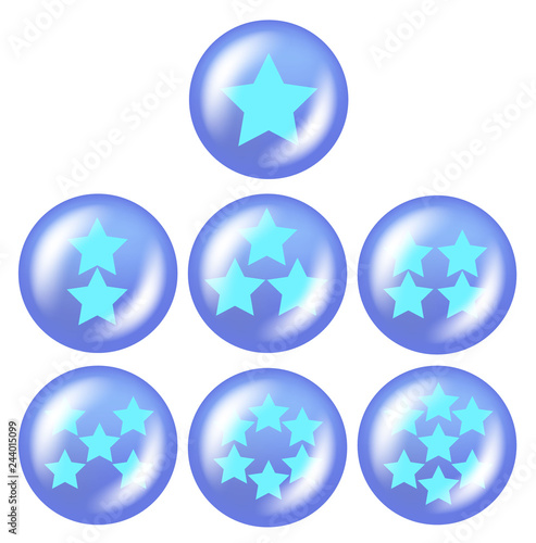 a set of seven glossy balls with stars from one Wallpaper Mural